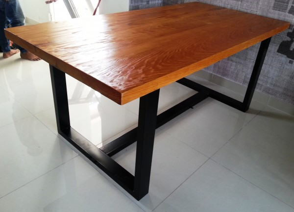 Square Multi Stained Reclaimed Wood Table In Kitchen