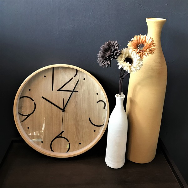 ROUND WOOD WALL CLOCK - DCC10966