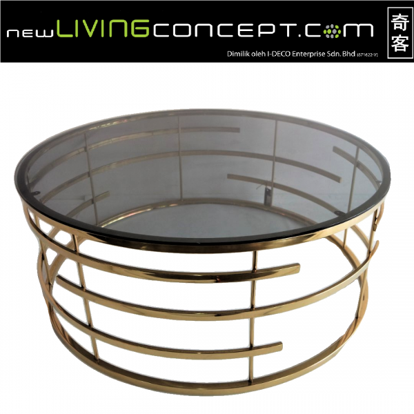 GOLD ROUND COFFEE TABLE- FRM3061-GD1