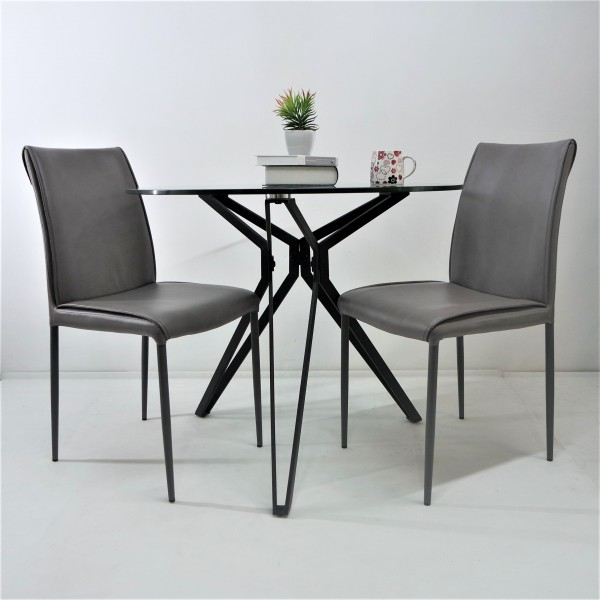 ROUND TEMPERED GLASS DINING TABLE SET : RM 999 ONLY1