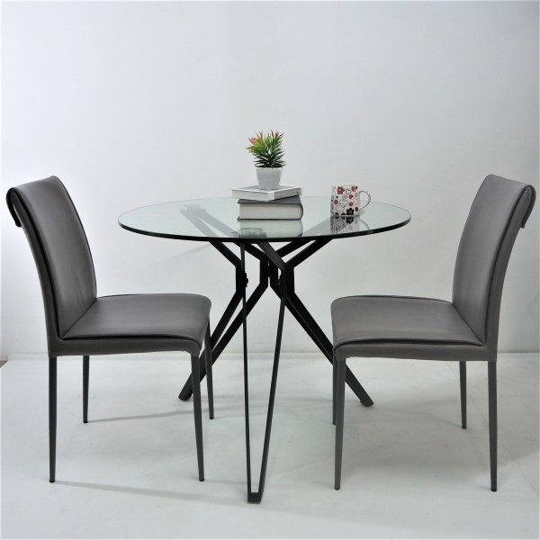 ROUND TEMPERED GLASS DINING TABLE SET : RM 999 ONLY2