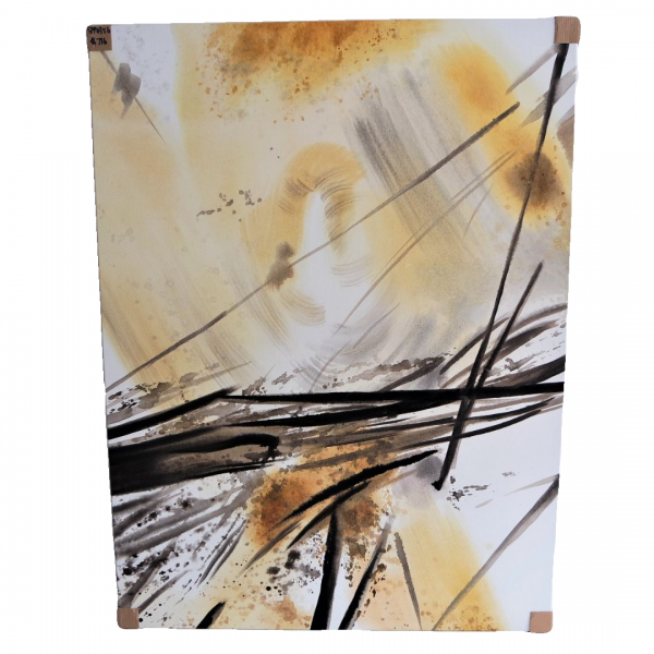 BLACK & GOLD ABSTRACT OIL PAINTING - SPP03561