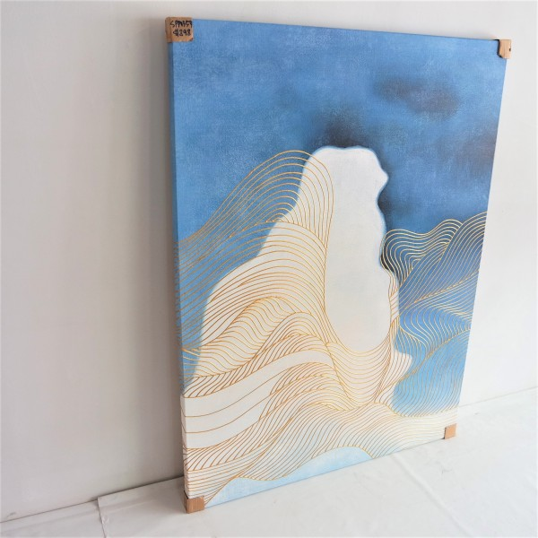 BLUE & BLACK ABSTRACT OIL PAINTING - SPP03542