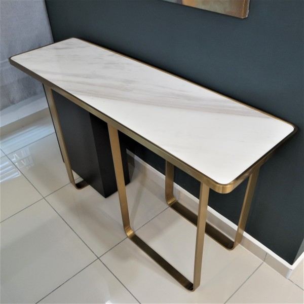 WHITE MARBLE CONSOLE TABLE - FRM51581